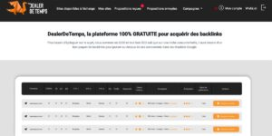 Plateforme de netlinking Dealer de temps
